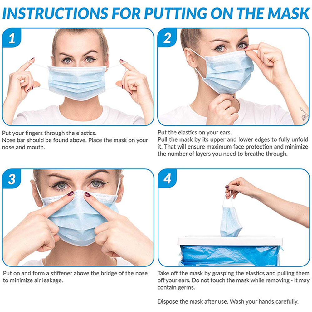 Image 5 - 10 20 50 pcs/pack Non Woven Maska Disposable Earloop Face Mask 3 Layer Non woven Meltblown Cloth Earloop Anti Dust Mouth MaskMens Masks   -