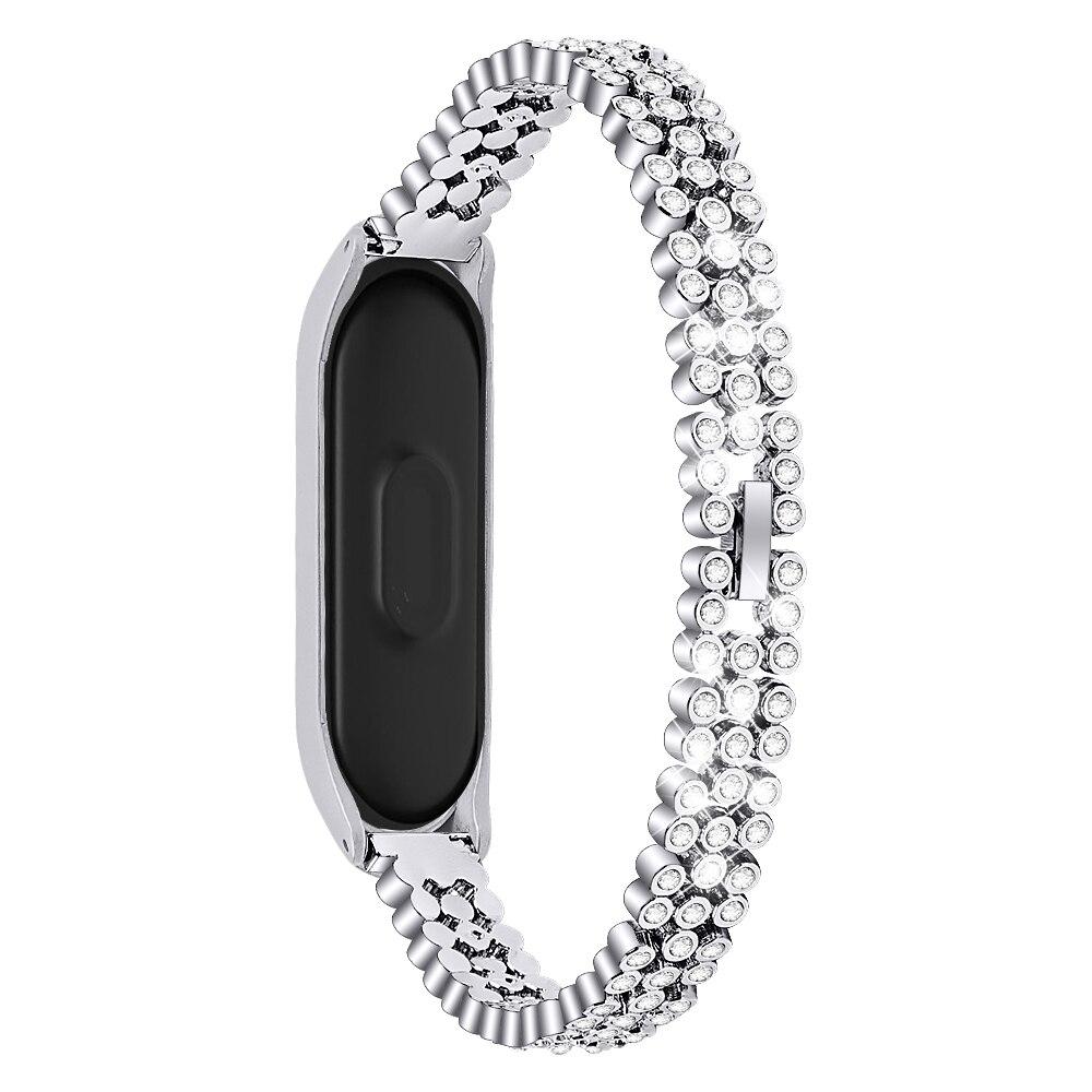 Diamond Metal Strap For Xiaomi Band 4 And 3 Stainless Steel Wristband Smartband Xiomi Xaiomi Xiami Xaomi Xaiomy Bracelet