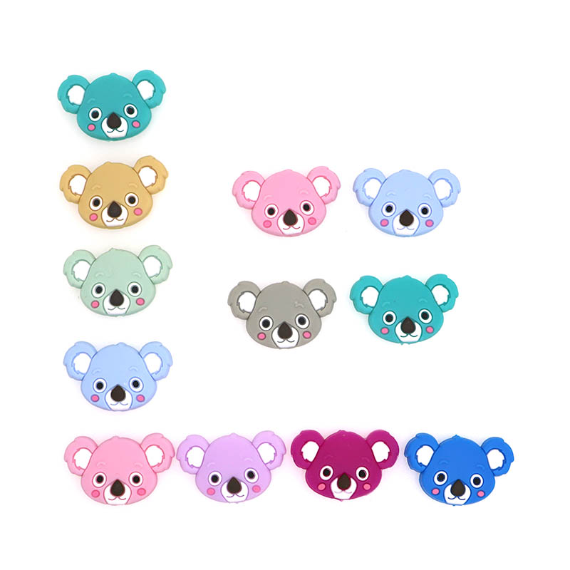 Kovict 100pcs  Silicone Beads Mini Koala Bead Baby Silicone Teether Food Grade Rodents DIY Baby Teething Toys