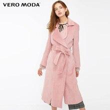 Vero Moda Autumn Winter cotton corduroy split long trench coat  318409508