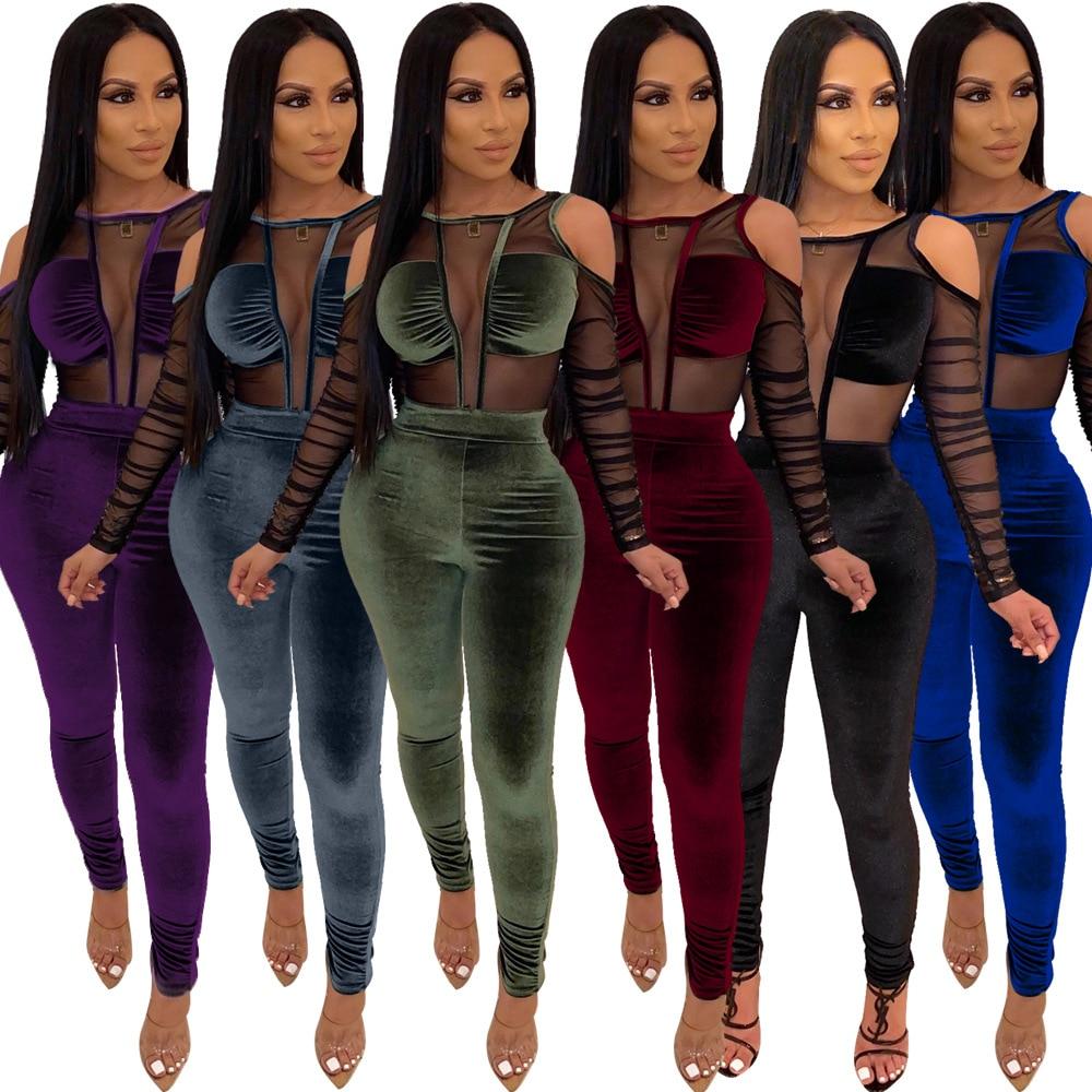 Elegant Long Womens Overalls Sexy Mesh Patchwork Velvet Jumpsuit Long Sleeve Transparent Bodysuit Black Bodycon Romper Plus Size