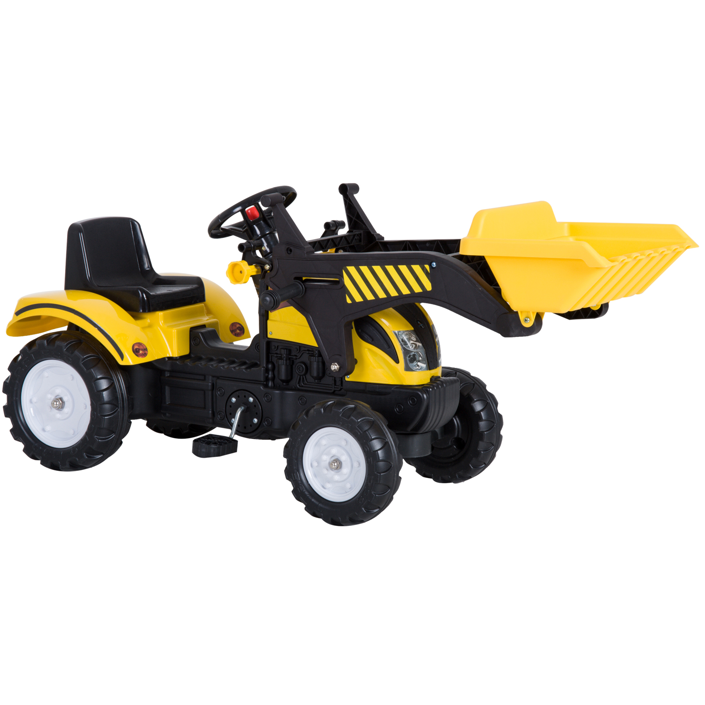 HOMCOM Tractor Pedal Excavadora Camión + Pala Delantera para Niños 3 6 Años Juguete de Montar Coche Pedales 114x41x52cm|Coches para montarse| - AliExpress