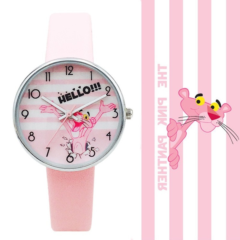 High Quality Fashion Casual Girl Watch Kids Cute Pink Panther Design Strap Watches Lovely  Children Quartz Wristwatch