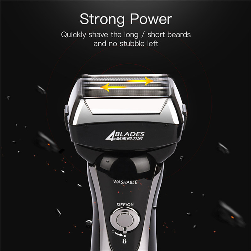 Shaver Electric Razor Reciprocating 4 Blade Head Shaving  Men Washable Rechargeable Men's Razor Trimmer