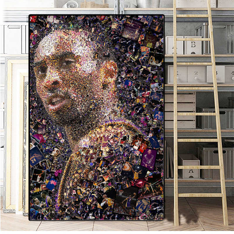 WANGART ผนังคุณภาพสูง Kobe Bryant บาสเกตบอล Star ภาพพิมพ์ภาพพิมพ์ผ้าใบพิมพ์โปสเตอร์ห้องนั่งเล่นตกแต่งบ้าน