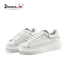 Brand Espadrilles White Platform Flat-Shoes Women Sneakers Lace-Up Round-Toe Comfortable