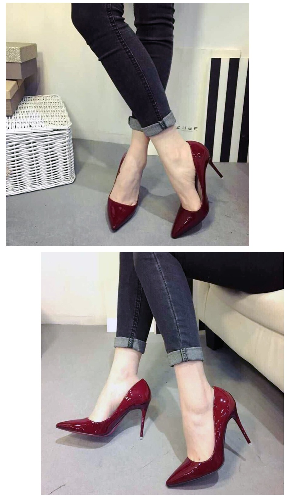 Ladies Shoes High Heels Patent Leather Classic Pumps Sexy Dress Prom Wedding Women PU Pointed Toe Beige Red Bottoms Shoes 10