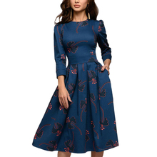 Women Spring Summer 3/4 Sleeves Floral Printed Folds Round Neck A-line Dress Casual Retro Elegent Party Tight waist dance dress floral print round neck half sleeves vacation a line dress