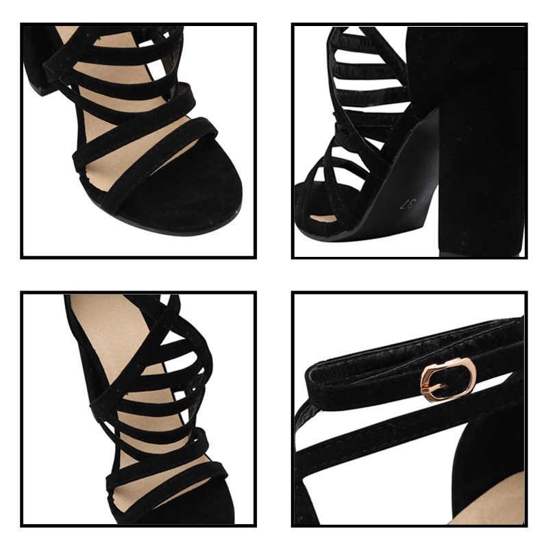 MCCKLE 2020 kadın yüksek topuklu sandalet yaz bayan ayak bileği toka askı kadın çapraz askı ayakkabı bayan parti kadın ayakkabısı artı boyutu