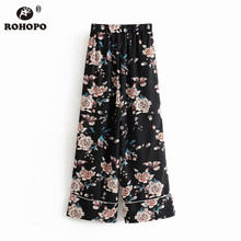ROHOPO Female Pink Begonia Black Wide Leg Pant Ladies Autumn Vintage Soft Full Length Trousers #003