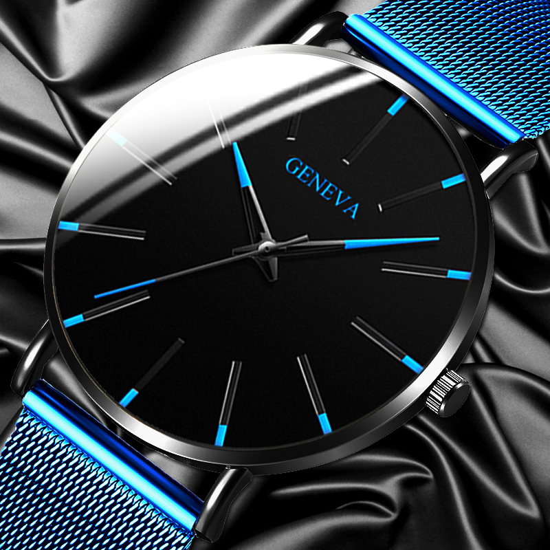 2020 Geneva Minimalist Watch Men Ultra Thin Blue Stainless Steel Mesh Belt Watches Man Business Casual Quartz Wrist Watch