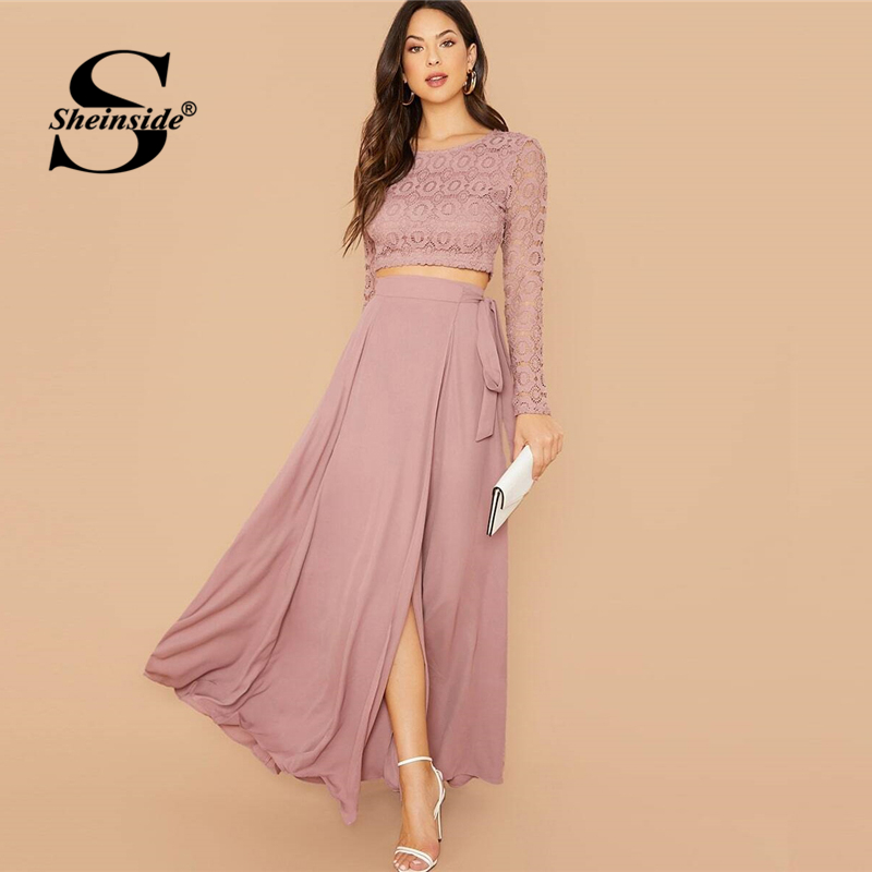 Sheinside Pink Elegant Contrast Lace Crop Top And Skirt 2 Piece Set Women 2020 Spring Side Knot Slit Hem Maxi Skirt Set