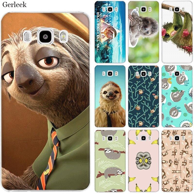 Desxz Desxz Cell Phone Hard Cover Phone Case or Samsung J1 J2 J3 J5 J6 J7 Grey Sloths And Flowers Pattern Cover
