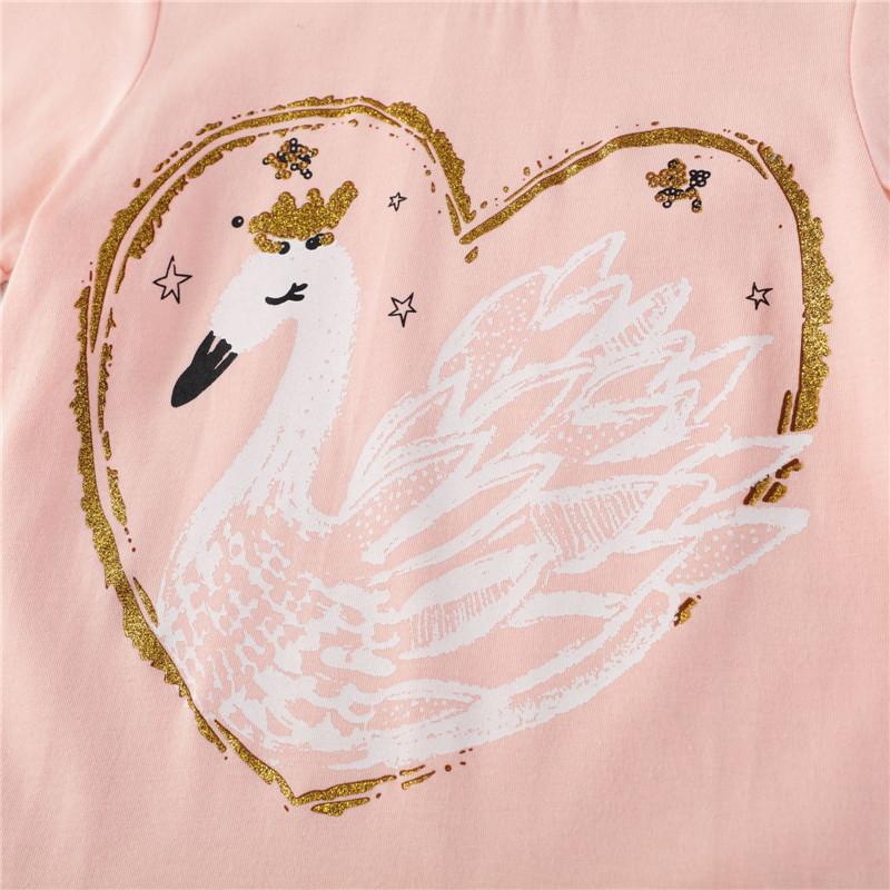 Baby Girl Summer Clothes Tops Flower Swan Tees Shirts Outfits Cute Infant T Shirts Lovely Children Clothing Kids Summer Clothes 4