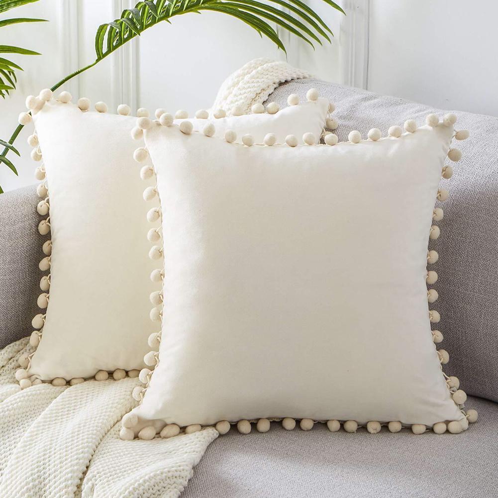 Мягкая бархатная декоративная наволочка cilved, декоративные подушки для кровати, квадратные подушки с помпоном для дивана, домашние Чехлы, ав...