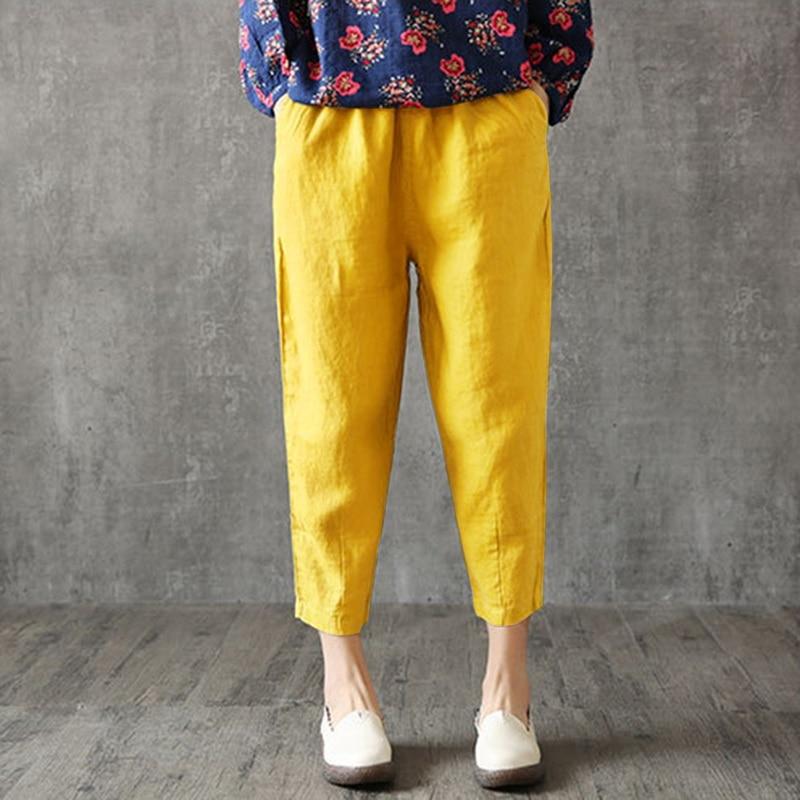 Vintage Women Linen Pants Plus Size 2019 Summer Pant Capris Loose Thin Fabric Linen Cotton Pant Solid Color Harem Pants Women