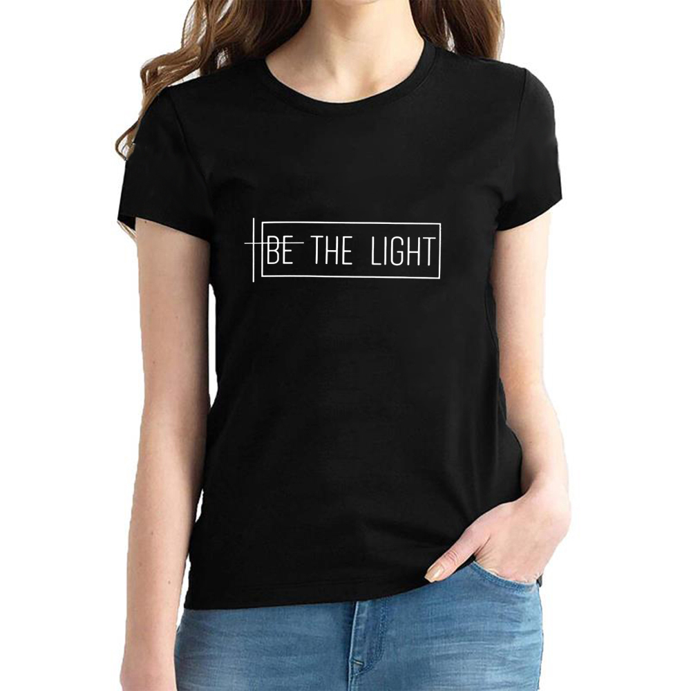 Be The Light T-shirts Women Catholic Graphic Christian Church Tees Tops New Fashion Religious Inspirational Jesus Faith Tshirt image