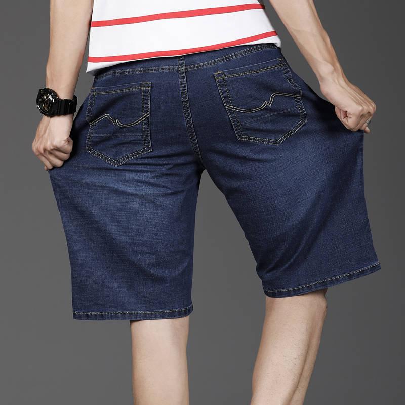 2020 Summer Extra large size men's denim shorts oversized men's elastic waist knee length loose shorts men plus size Male Brand
