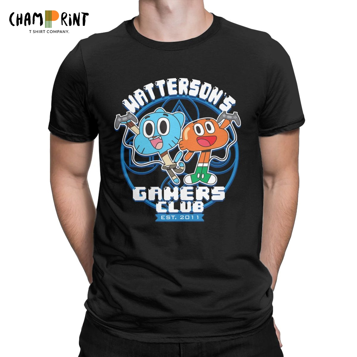 Watterson's Gamers Club Men T Shirt The Amazing World of Gumball Novelty Tees Short Sleeve Crewneck T-Shirt Cotton 5XL 6XL Tops image