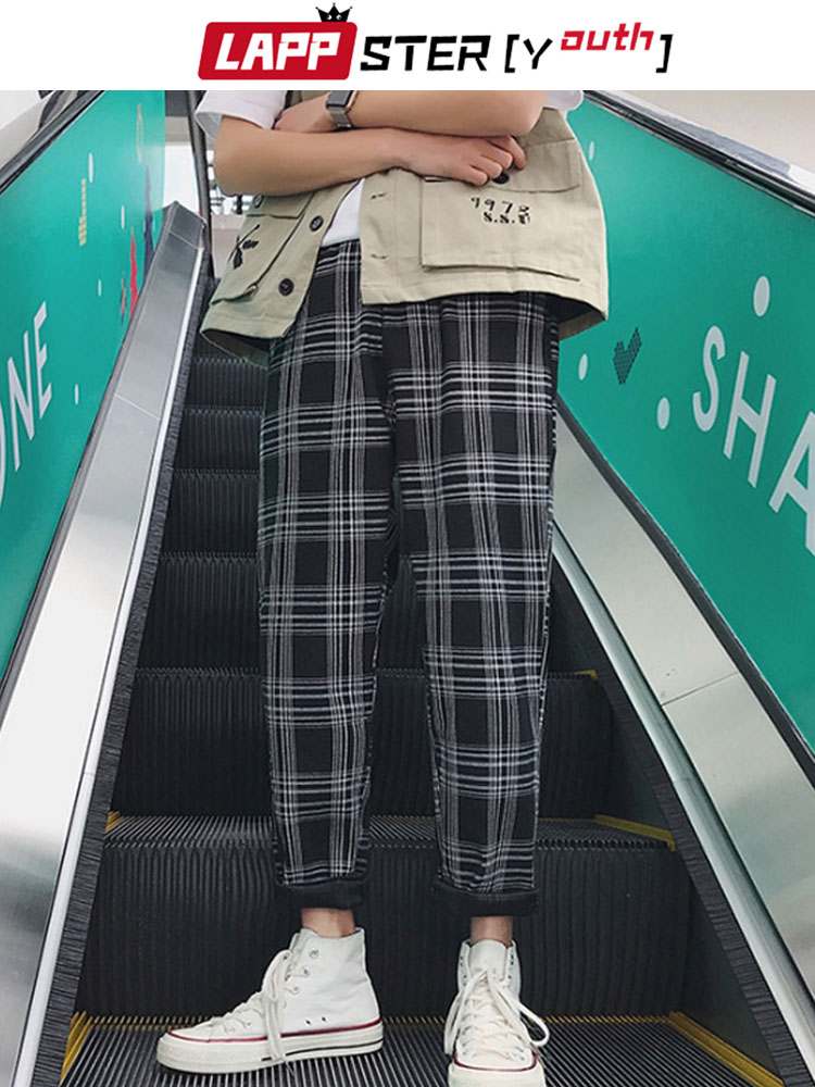 Plaid Pants Trousers Men Joggers Streetwear Hip-Hop Lappster-Youth Black Straight Plus-Size