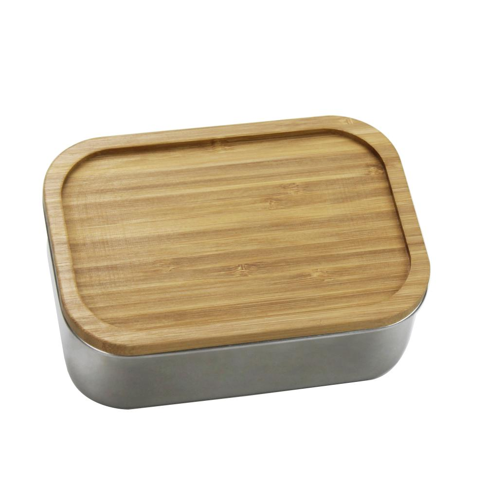 Lunch Box 304 Stainless Steel Wooden Lid Japanese Style Bento Box Bamboo Cover Sushi Bento Box Portable Children Kids Lunch Box