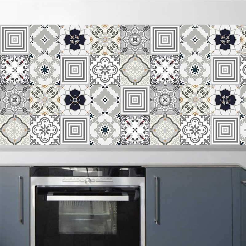 Ả Rập Tự Làm Mosaic Ốp Tường Dán Cột Dây Eo Tường Vinyl Decal Dán Bếp Dán Phòng Tắm Vệ Sinh Chống Thấm Nước