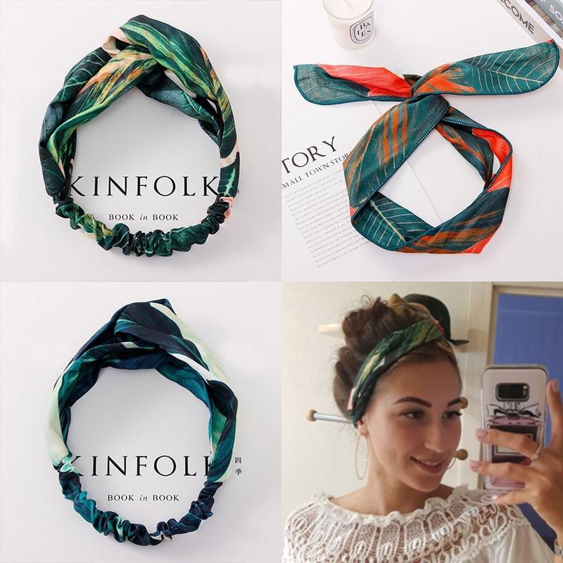 Summer Bohemian Print Leaves Hairbands Elastic Headbands For Women Retro Cross Knot Turban Bandanas Hair Bands Hair Accessories