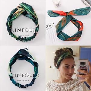 Summer Bohemian Print Leaves Hairbands Elastic Headbands For Women Retro Cross Knot Turban Bandanas Hair Bands Hair Accessories(China)