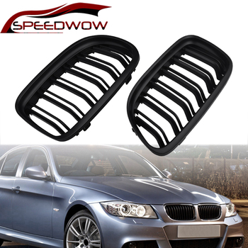 SPEEDWOW For BMW E90 2009 2010 2011 2012 Car Front Left Right Grille Racing Grills Car Exterior Parts Gloss Matte Black 1 Pair image