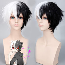 Joy&luck Anime Danganronpa Monokuma Dangan Ronpa Cosplay Wigs Short Half Black White Synthetic Wigs for Party Costume Hair Style(China)