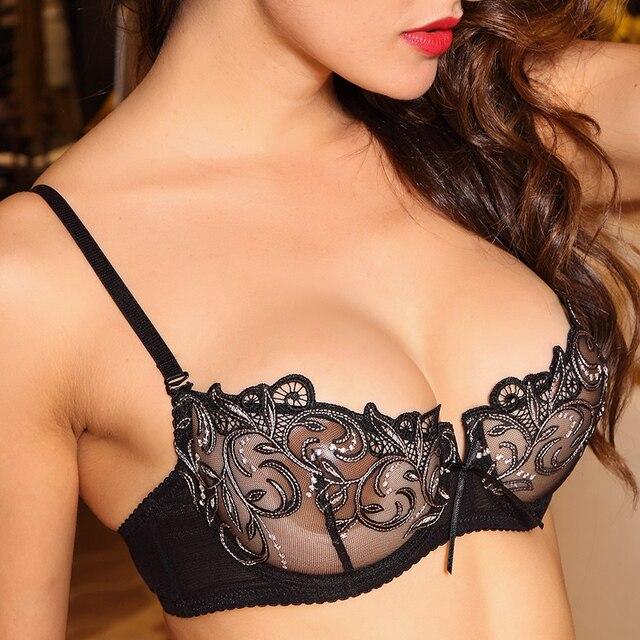 נשים סקסי חם ארוטי שקוף הלבשה תחתונה Ultrathin קצר חזיית סט תחרה רקמה נשי תחתונים ללא תפר חזייה