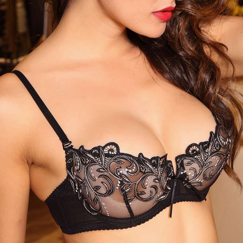 Women Sexy Hot Erotic Transparent Lingerie Ultrathin Bra Brief Set Lace Embroidery Female Seamless Panties Underwear Brassiere