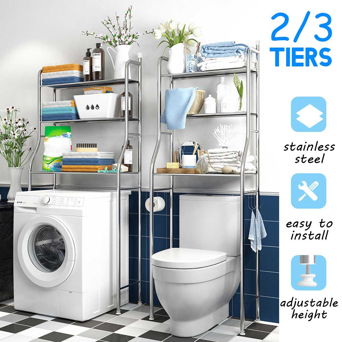 Acier inoxydable sur le support armoire de toilette rayonnage cuisine Machine à laver support salle de bain économiseur d'espace étagère support organisateur