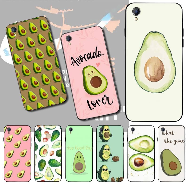 Cutewanan abacate estético gteen frutas alimentos preto macio borracha telefone capa para vivo y91c y17 y51 y67 y55 y93 y19 y7s caso