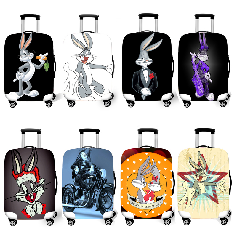 Kawaii Bunny Fish Elastic Travel Luggage Cover,Double Print Fashion Washable Suitcase Protector Cover Fits 18-32inch Luggage