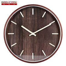 Wood Simple Northern European-Style Wall Clock Elegance with Numbers Geniss Elegant 35cm Bentwood Retro Chinese Style Wall Clock(China)