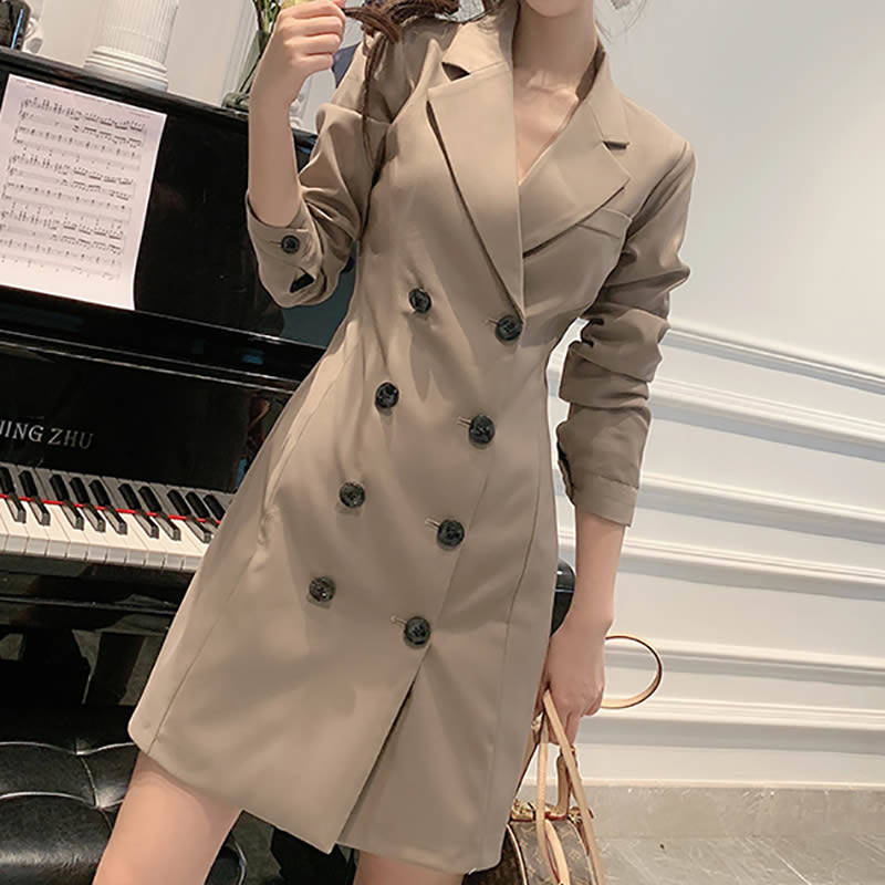 Bella Philosophy 2019 Autumn Women Solid Blazers Office Lady Fashion  Notched Collar Outwear Female Double Breasted Blazer Dress