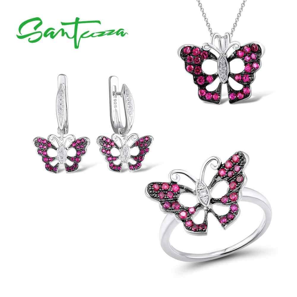 SANTUZZA gümüş takı seti kadınlar için saf 925 ayar gümüş büyüleyici kırmızı kelebek zarif düğün aksesuarları güzel takı