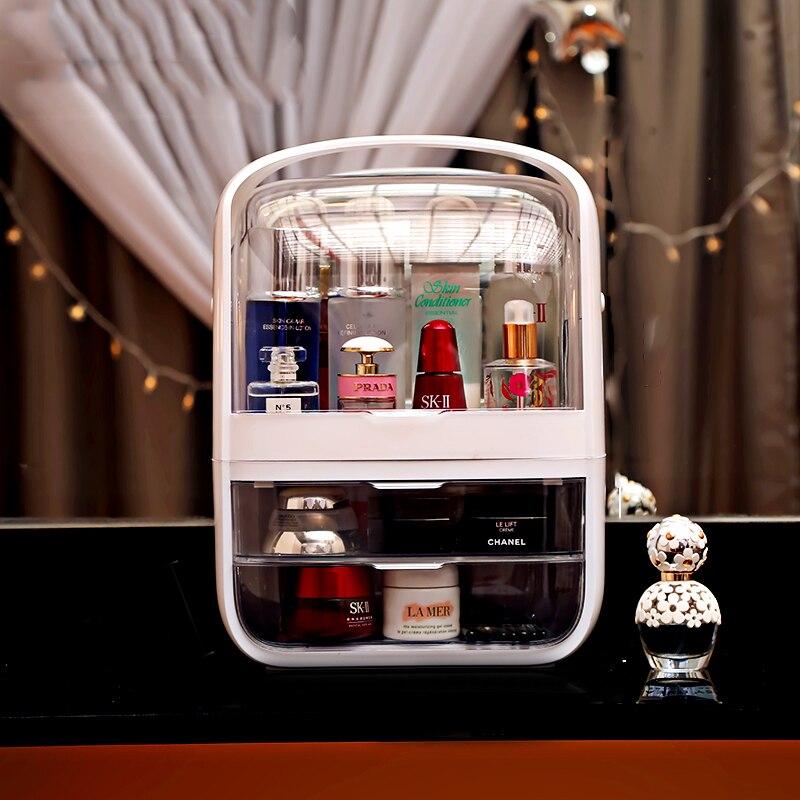 Fashion New Makeup Organizer Large Capacity Waterproof And Dustproof Bathroom Cosmetic Storage Box Desktop Beauty Storage Drawer