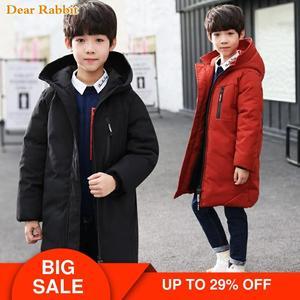 Image 1 -  30 degree children clothing boy clothes warm winter down cotton jacket Hooded coat Teen thicken outerwear kids waterproof parka