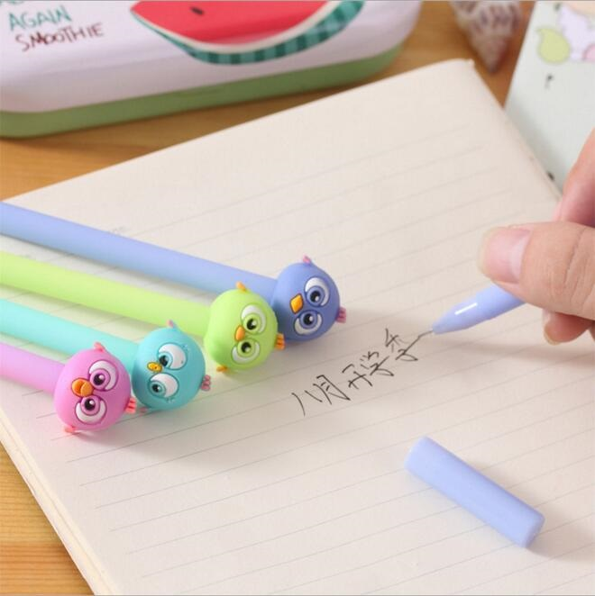 1pcs lot Kawaii Color Bird Head design 0 38mm black ink Gel pen DIY Signature pen office school supplies