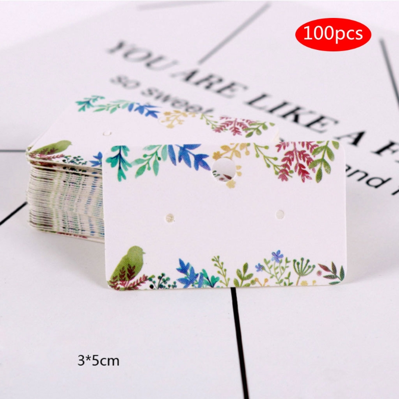 100Pcs Earrings Pack Ear Stud Card Jewelry Display Hang Tag Label Printing 3x5cm