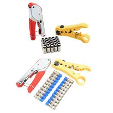 20pcs F Compression Connectors Tool for RG6 RG59 Fitting Coaxial Cable Crimper Wire Striper Stripping Pliers Kit