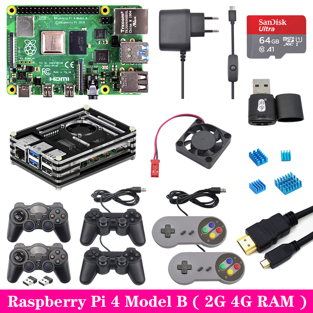 Raspberry Pi 4 2GB 4GB RAM Game Kit With USB Gamepad Joystick Acrylic Case SD Card Power Supply For Raspberry Pi 4 Model B Pi 4B