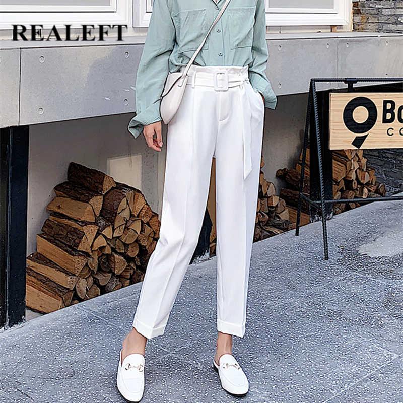 Realeft Pantalones De Estilo Coreano Ol Para Mujer Pantalon De Tiro Alto Elegante Largo Hasta El Tobillo Con Bolsillos Color Blanco 2020 Pantalones Y Pantalones Capri Aliexpress