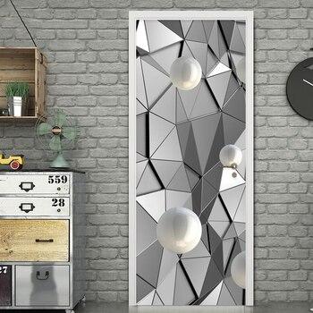 Европейский стильный принт художественная работа 3D Дверь Наклейка на стену с баскетболистом Геометрическая картина самоклеющаяся домашня...
