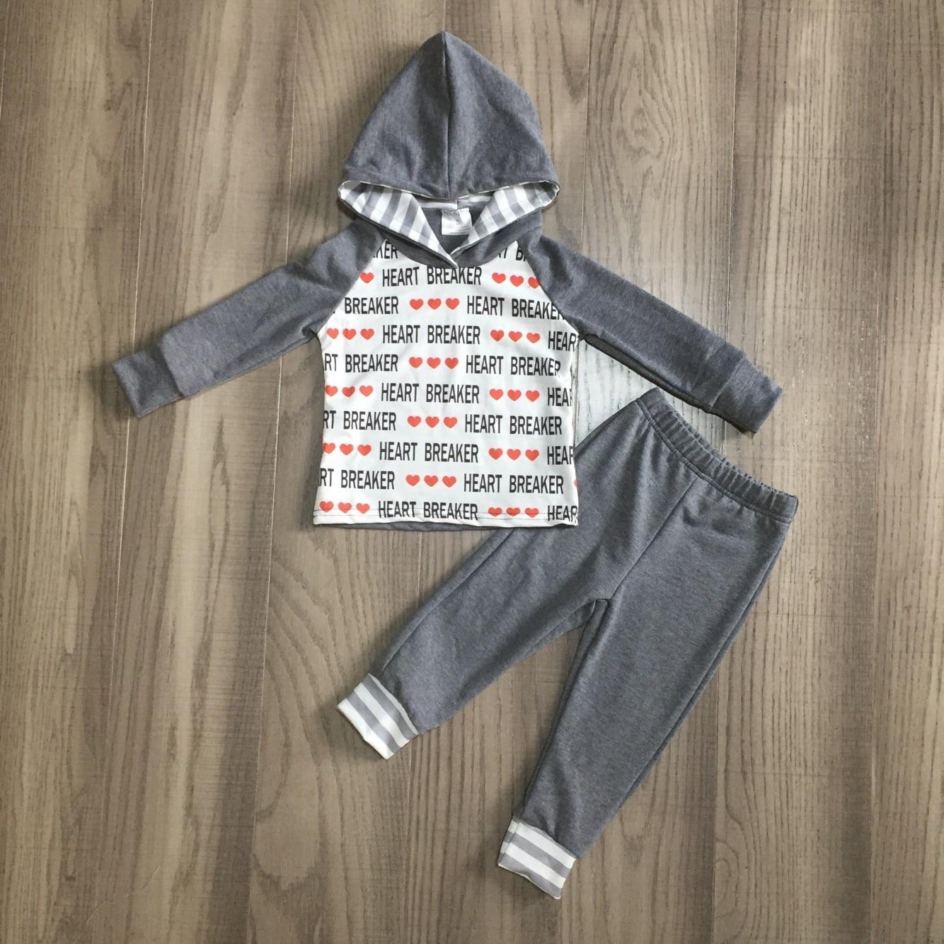 Girlymax Valentine's Day Winter Baby Boys Cotton Heart Breaker Homewear Hoodie Children Clothes Loungewear Outfits Boutique Set 1