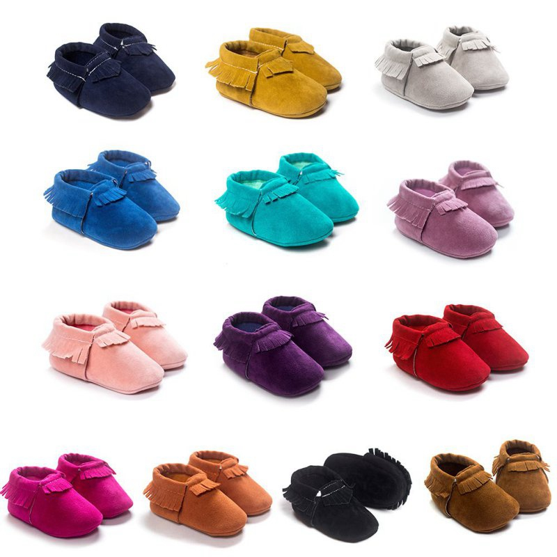 Baby Moccasins Crib-Shoes Velvet Soft-Sole Toddler Newborn Infant Girls Boys Coral PU title=