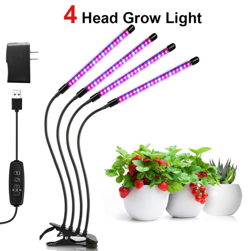 DIDIHOU LED 4 Head Grow Light USB Phyto Lamp Full Spectrum  With Control For Plants Seedlings Flower Indoor Grow Box