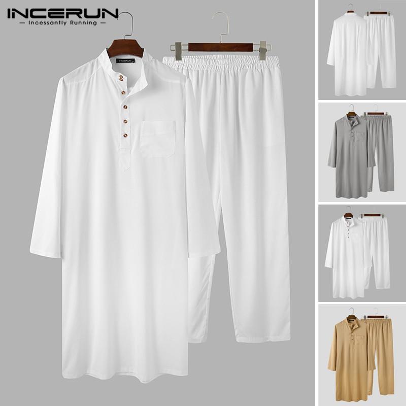 Fashion Muslim Sets Men Long Sleeve Stand Collar Thobe Caftan Elastic Pants Suit Men Solid Islamic Arabic Clothing S 5XL INCERUN